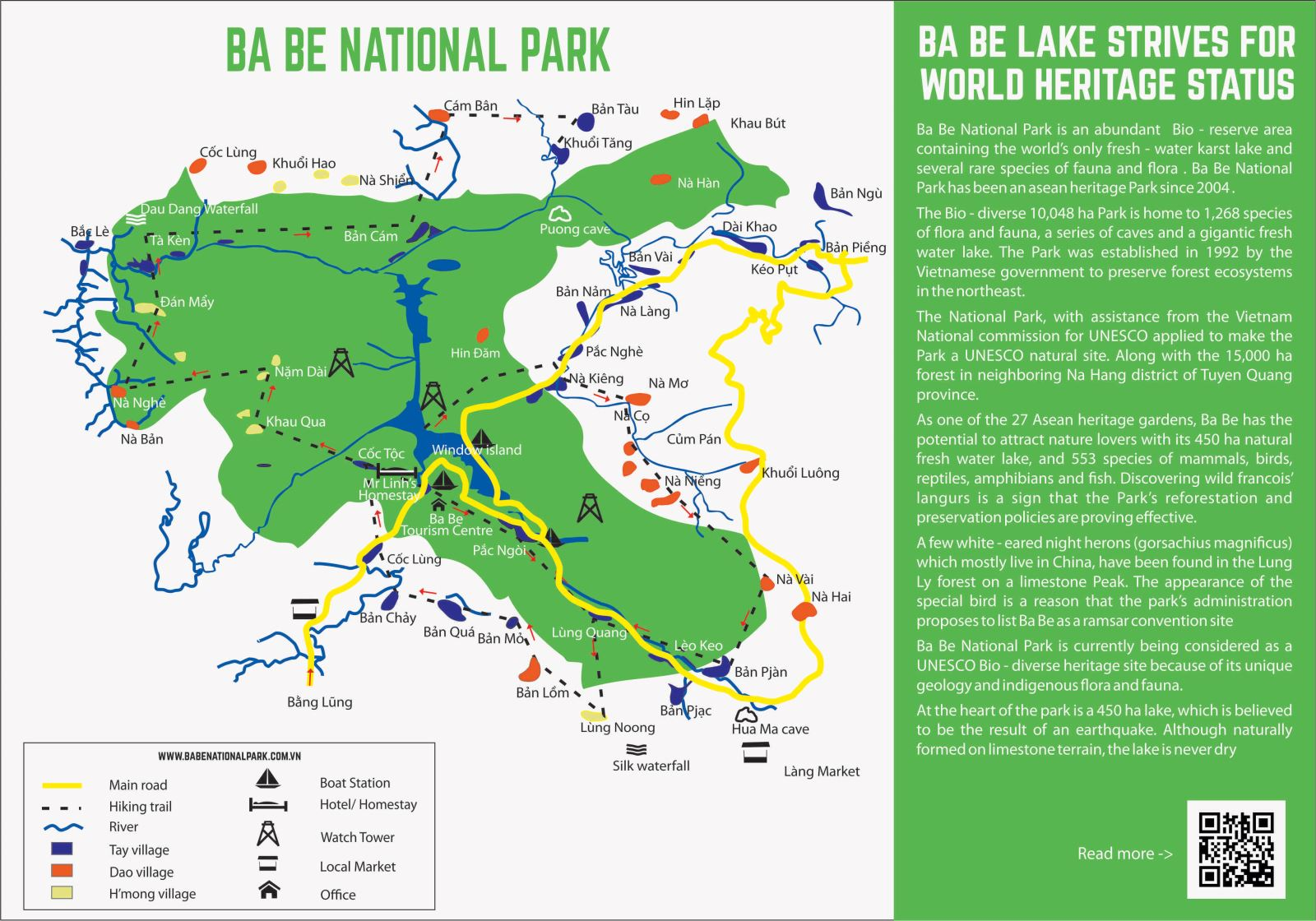 tourist map of Ba Be National Park